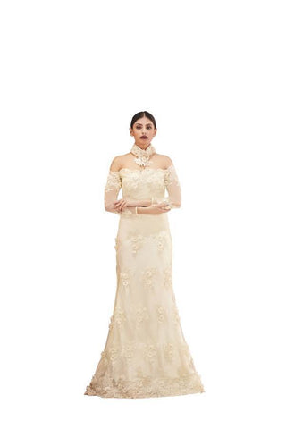 Cream Color Embroidered Pearl and 3D Flower Stitched Gown - 040-01-17