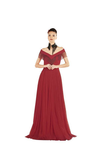 Red Color Net and Georgette Stitched Gown - 041-01-17