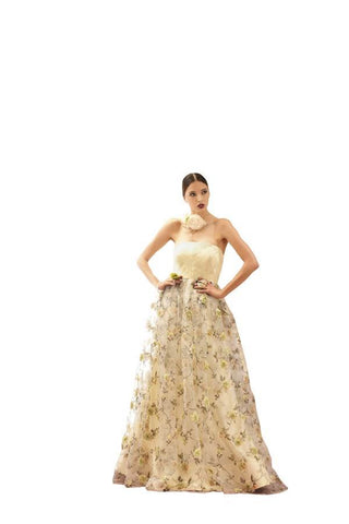 Cream Color Organza,Printed Tissue Stitched Gown - 043-01-17