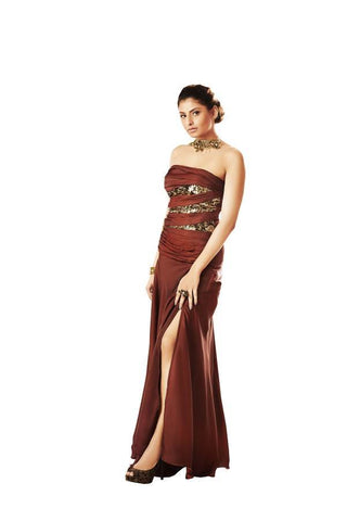 Brown Color Brezza Satin Stitched Gown - 044-01-17