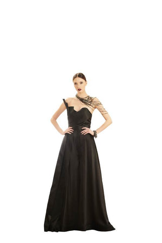 Black Color Satin Stitched Gown - 045-04-17