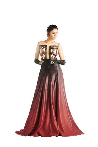 Red Black Color Net and Japan Satin Stitched Gown - 048-01-17