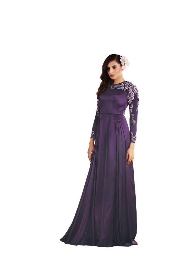 Buy Purple Color Japan Satin Stitched Gown   Zinnga