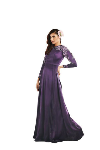 Purple Color Japan Satin Stitched Gown - 049-01-17
