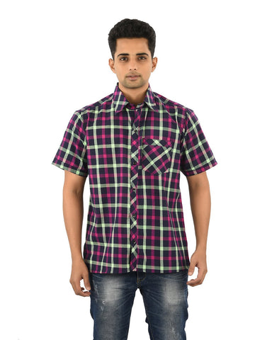 Multi Color Cotton Men's Checkered Shirt - 04SHIRT