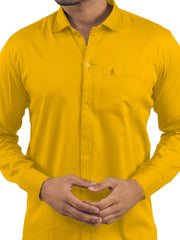 Yellow Color Plain Casual Shirt - YW-1ABF