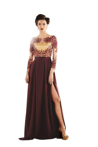 Brown Color Brezza Satin Stitched Gown - 050-01-17