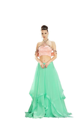 Peach Color Creta Stitched Skirt - 051-03-17