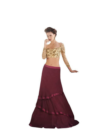 Maroon and Beige Color Georgette Stitched Skirt - 052-03-17
