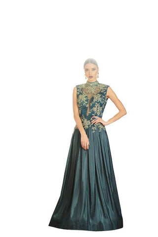 Grey Color Net and Japan Satin Stitched Gown - 053-01-17