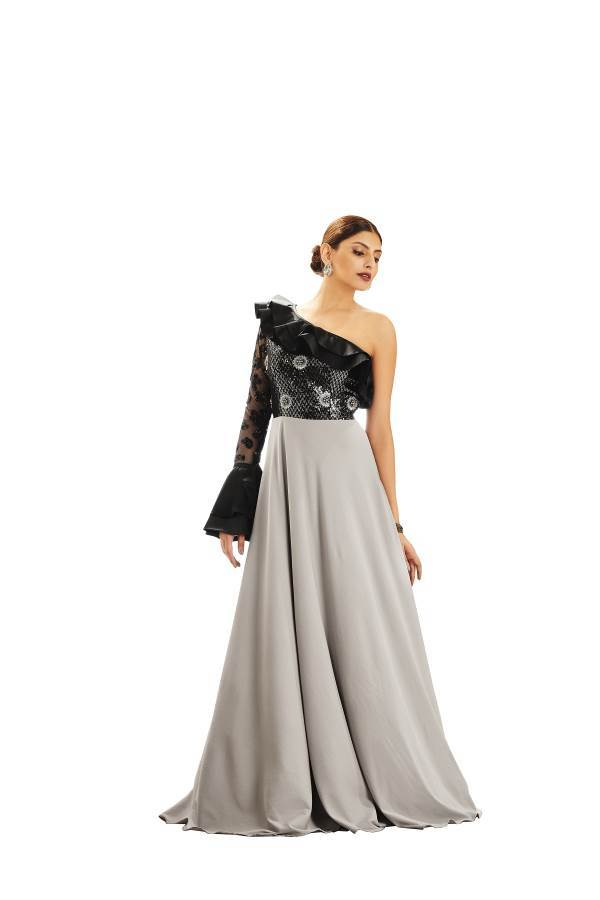 Buy Grey & Black Color Lycra Chiffon, Net and Satin Stitched Gown