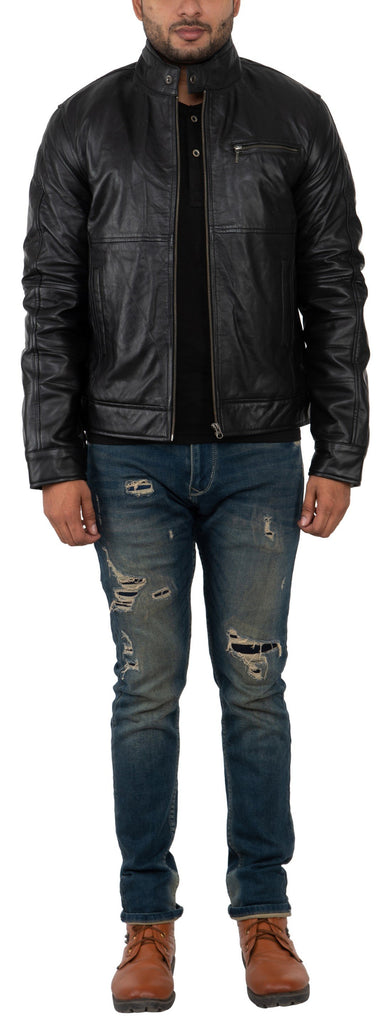 Buy FRANCHISE CLUB Black Color Sheep Nappa Leather Mens Jacket