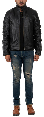 FRANCHISE CLUB Black Color Sheep Nappa Leather Mens Jacket - 0540BLACK