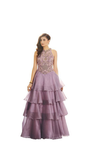 Lavender Color Net and Organza Stitched Gown - 056-01-17
