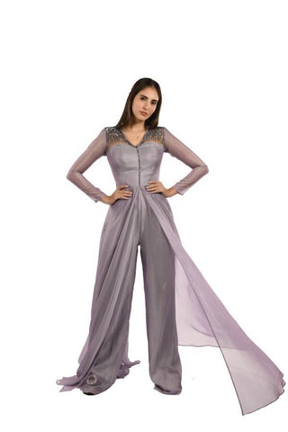 Grey and Lavender Color Net and Creta Stitched Skirt - 058-01-18