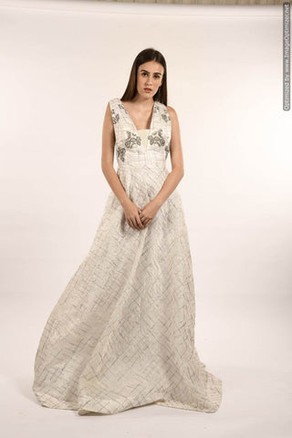 White Color Organza Stitched Skirt - 062-01-18