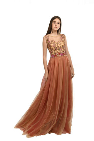 Gold and Red Color Net Stitched Gown - 063-01-18