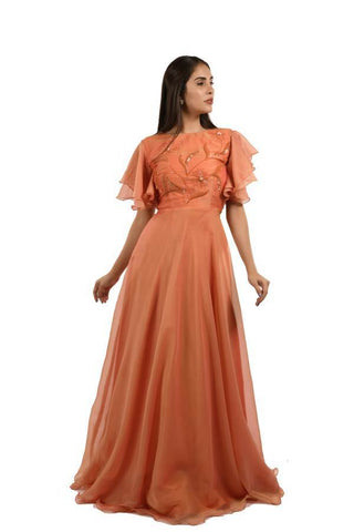 Orange Color Creta Stitched Gown - 065-01-18
