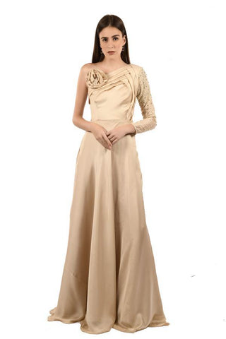 Beige Color Georgette and Satin Stitched Gown - 066-01-18