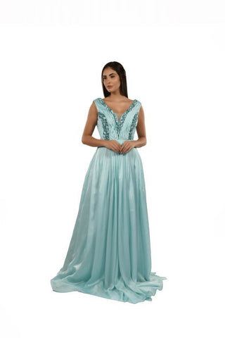 Sky Blue Color Georgette and Satin Stitched Gown - 068-01-18