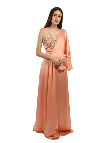 Peach Color Georgette and Satin Stitched Gown - 070-01-18