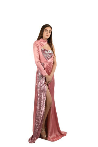 Hot Pink Color Sequins and Japan Satin Stitched Gown - 081-01-18