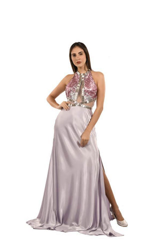Lavender Color Net and Satin Stitched Gown - 083-01-18