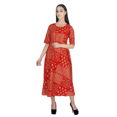 Red Color Rayon Stitched Gown - 0A16-RED
