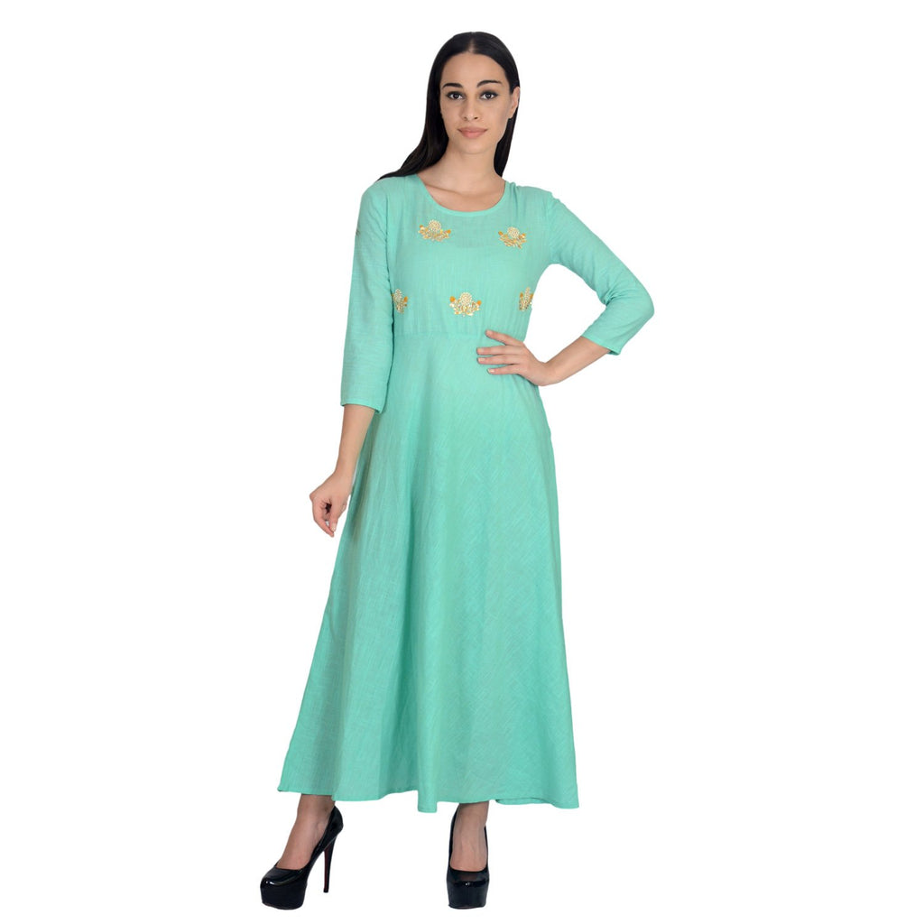 Buy Green Color Cotton Stitched Gown