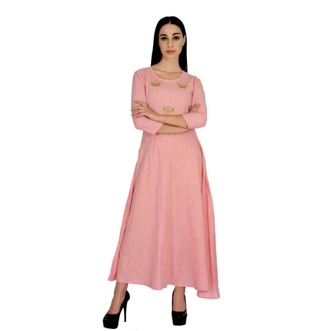 Baby Pink Color Cotton Stitched Gown - 0A7-BABYPINK