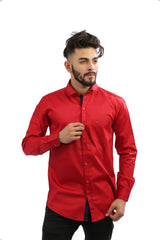 Maroon Color Fine Satin Men Shirt - BM136-maroon