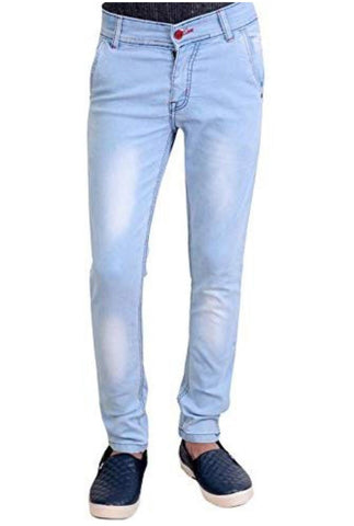 Light blue Color cotton blend denim Jeans  - 10091