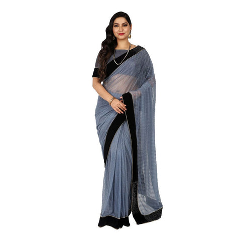 Grey Color Imported Printed Saree - 101EKA01