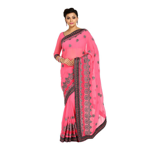 Pink Color Georgette Embroidery Saree - 101EKA06