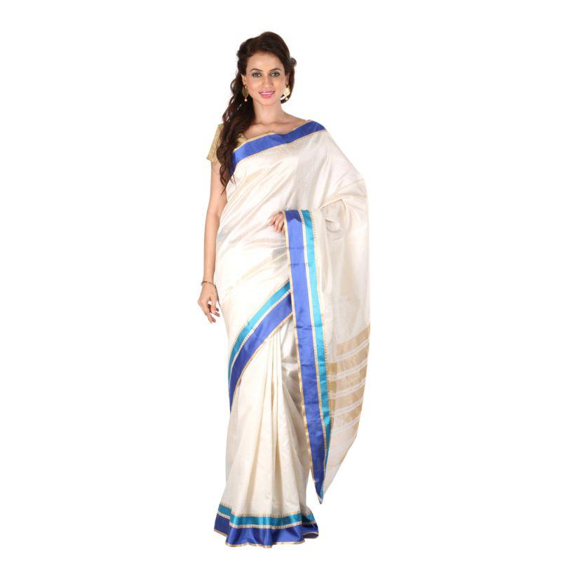 3f046d9b6d Cream Color Banarasi Silk Saree | Zinnga