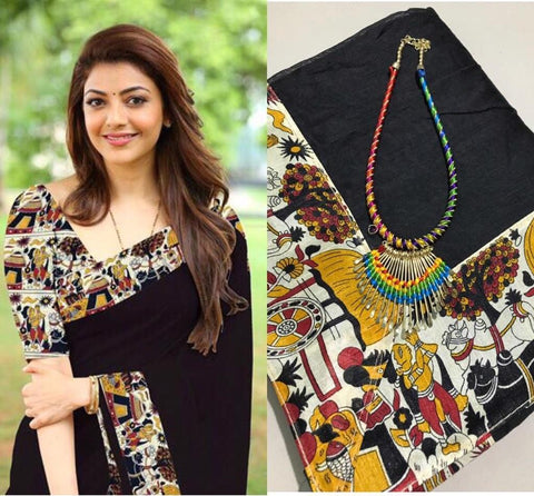 Black Color Chanderi Cotton Women's Saree with Blouse Piece and Necklace - 1029-B