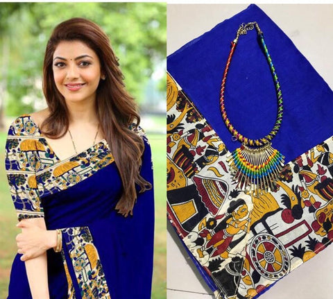 Blue Color Chanderi Cotton Women's Saree with Blouse Piece and Necklace - 1029-H