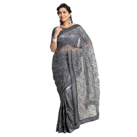 Grey Color Net Embroidery Saree - 102EKA02