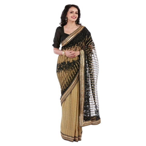 Black and Gold Color Net Embroidery Saree - 102EKA03
