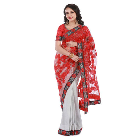 Red and Silver Color Net Embroidery Saree - 102EKA04
