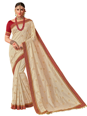 Off-White Color Two Stone Silk Saree  - 10359-2
