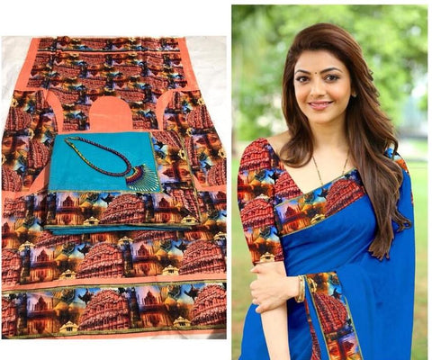 Sky Blue Color Chanderi Cotton Women's Saree with Blouse Piece and Necklace - 1042-B