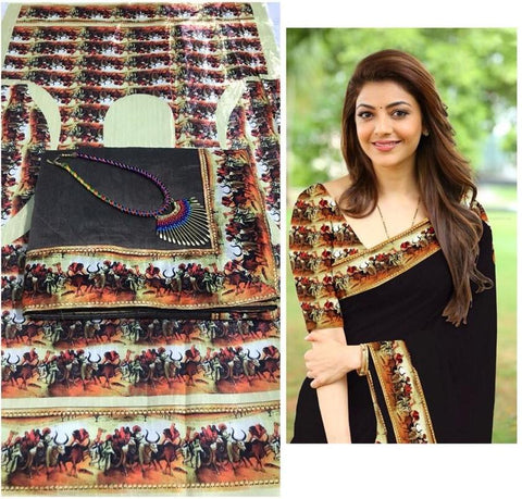 Black Color Chanderi Cotton Women's Saree with Blouse Piece and Necklace - 1042-C