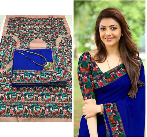 Blue Color Chanderi Cotton Women's Saree with Blouse Piece and Necklace - 1042-D