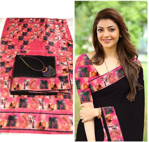 Black Color Chanderi Cotton Women's Saree with Blouse Piece and Necklace - 1042-F