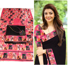Buy Black Color Chanderi Cotton Women's Saree with Blouse Piece and Necklace