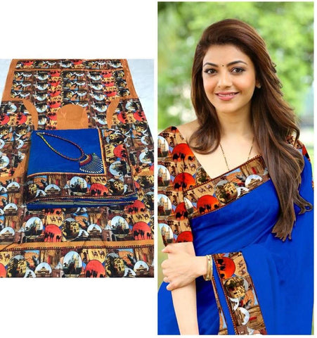 Blue Color Chanderi Cotton Women's Saree with Blouse Piece and Necklace - 1042-K