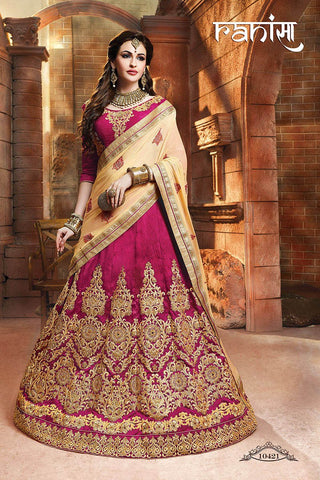 RUDRA FASHION-Rani Color Silk Unstitched Lehenga - 10421