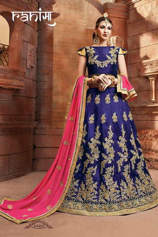 RUDRA FASHION-Blue Color Silk Unstitched Lehenga - 10423