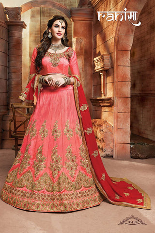 RUDRA FASHION-Peach Color Silk Unstitched Lehenga - 10424